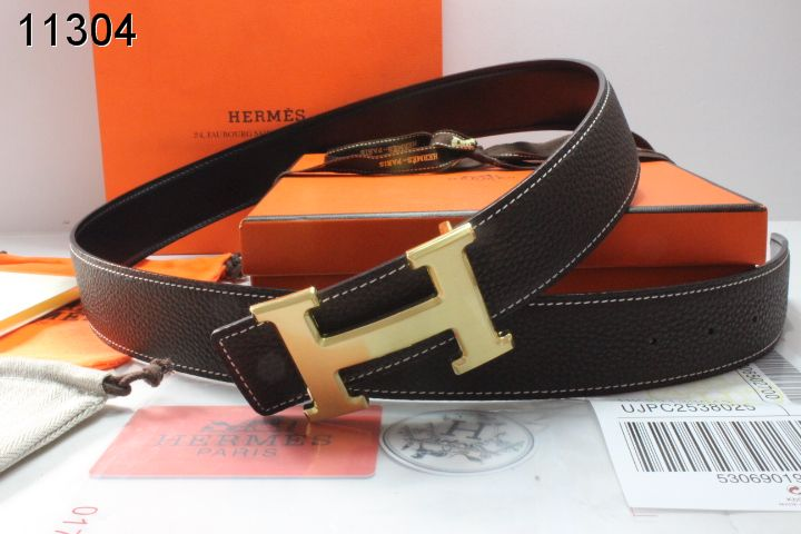 Trendy Chocolate Mens Belt Hermes with Golden H Buckle Wholesale